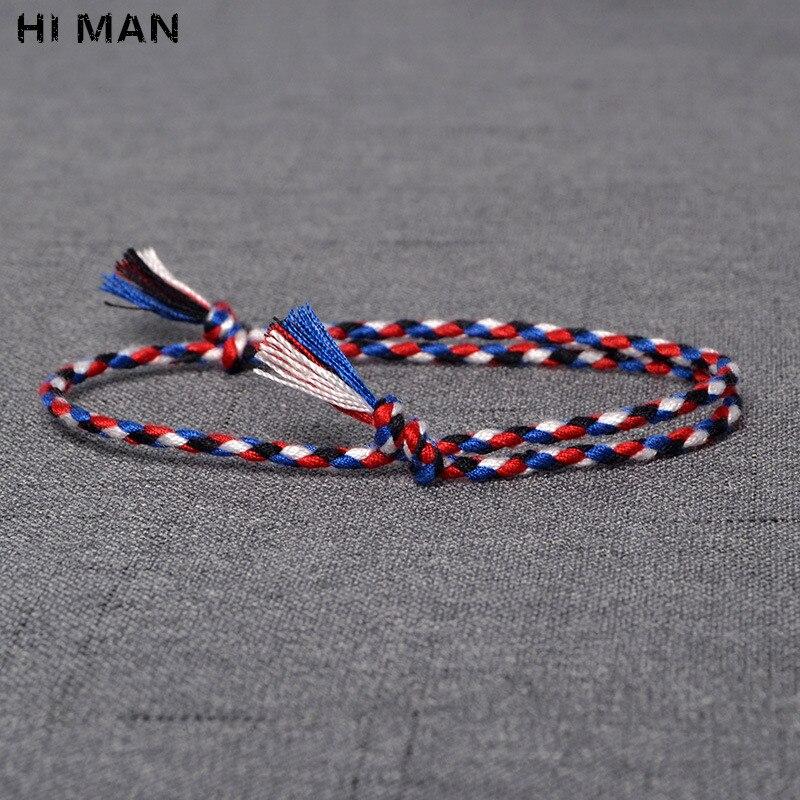 HI hombre 15 estilo nuevo diseño japonés algodón cuerda hecha a mano pulsera mujer moda Simple Color envoltura regalo de pulsera de la amistad