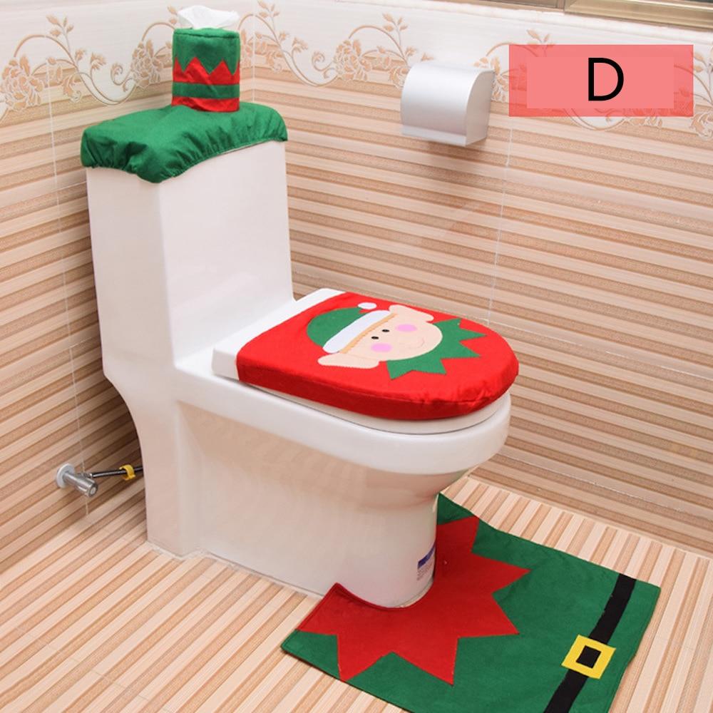 XMAS Decorations for Home Bathroom Toilet Seat Cove ,Santa Claus  elk snowman Elf Carpet Paper Rug  Christmas Ornaments Gifts