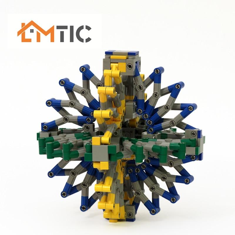 MOC Building Blocks Creator Tensegrity Sculptures Hoberman Sphere Dynamic Physics Balance Novel Bricks Toys for children gift