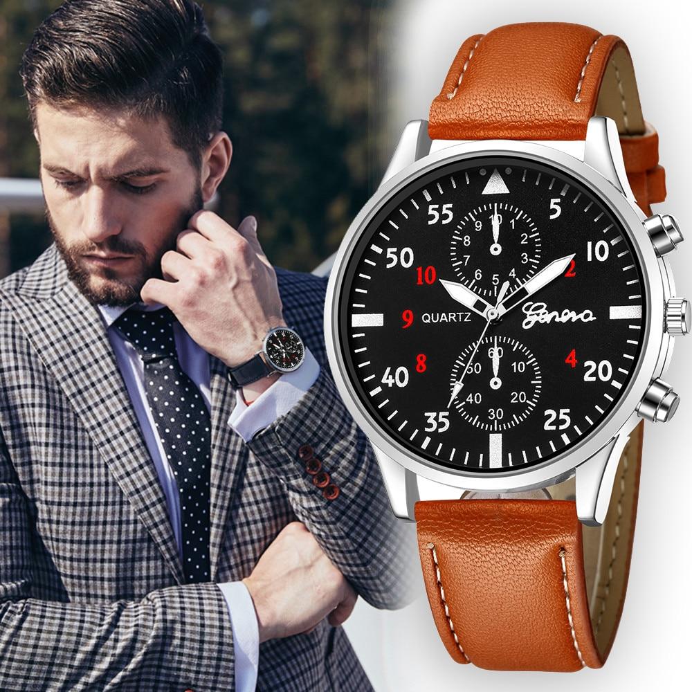 2020 Men's Leather Military Alloy Analog Quartz Wrist Watch Business Watches new watch men часы