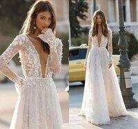 wedding dresses sexy deep v section backless 2020 elegant berta 3d flora top appliques beach bridal gown custom robe de mariee