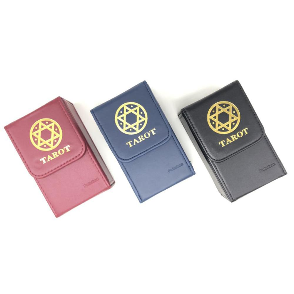 High quality tarot storage box Double leather collection board game game card box Portable tarot card box large mahjong portable wooden boxes set table game mah jong travelling board game indoor antique leather box english manual