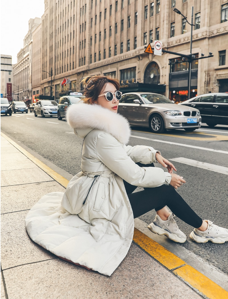 Chaqueta de plumón de pato blanco de marca 90% ropa con capucha de piel de zorro Real 2020 abrigo de plumón coreano Parkas femeninas Hiver LW1639