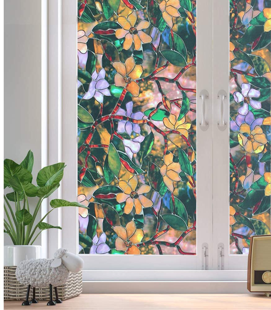 Luckyyj fosco filme de janela privacidade laço decorativo estática adere auto adesivo adesivo de vidro de vinil para casa e escritório
