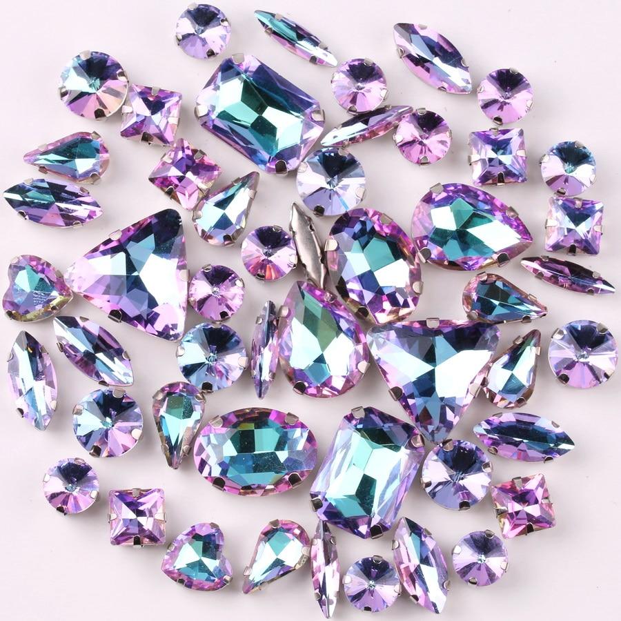 Montura de garra de plata 50 unids/bolsa, mezcla de formas de vidrio violeta de arcoíris cristal para coser diamantes de imitación, boda, vestido, zapatos, bolsos diy