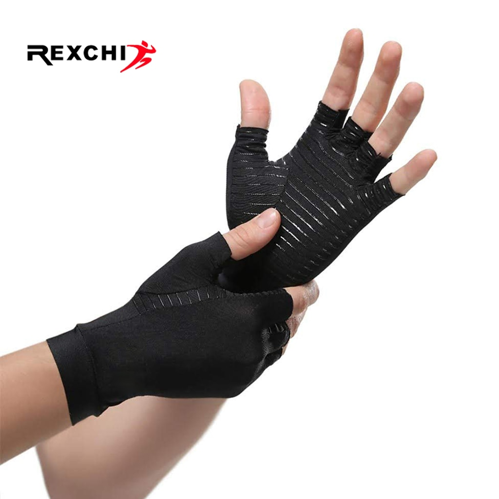 Rexchi 1 par de compressão luvas de artrite para homens alívio da dor conjunta metade do dedo cinta terapia suporte de pulso anti-deslizamento