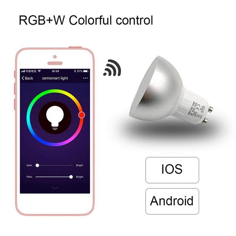 Bombillas LED inteligentes WiFi GU10, 5W, RGBW, bombillas regulables para Control remoto de la aplicación de la lámpara con Alexa / Google / IFTTT