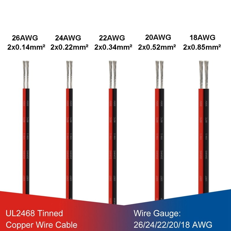 Cable de cobre estañado eléctrico, 1/5/10M, 2 pines, Negro, Rojo, 26, 24,...