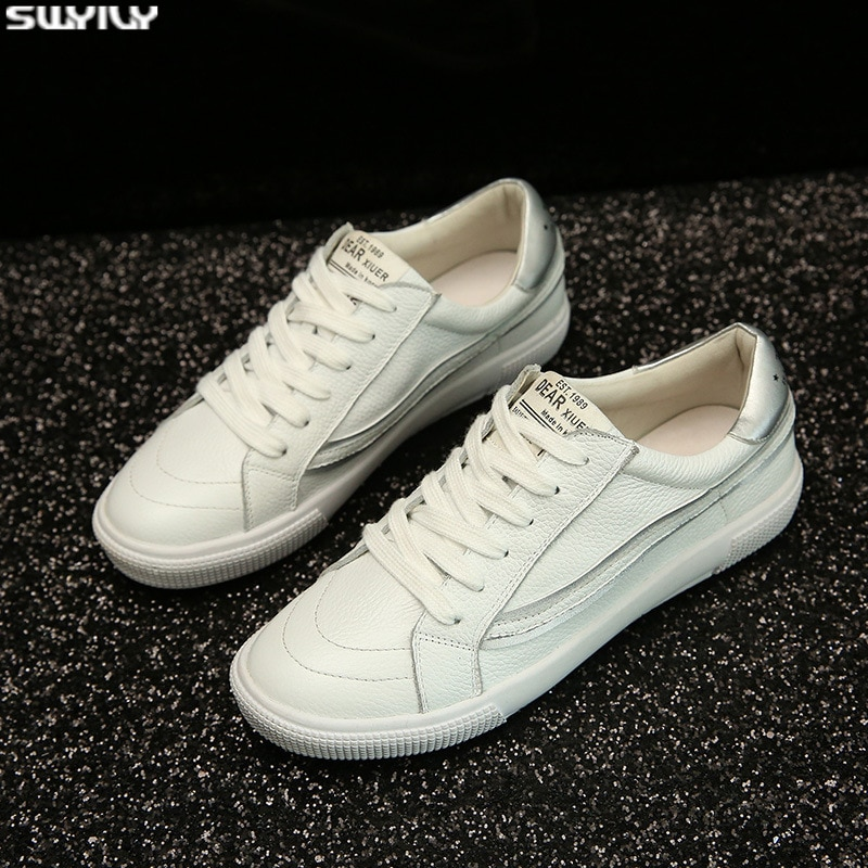 SWYIVY Leder Schuhe Frau Weiße Turnschuhe Flache Weibliche Schuhe Frühling 2020 Mode Chunky Turnschuhe Für Frauen Atmungsaktive Damen Schuh