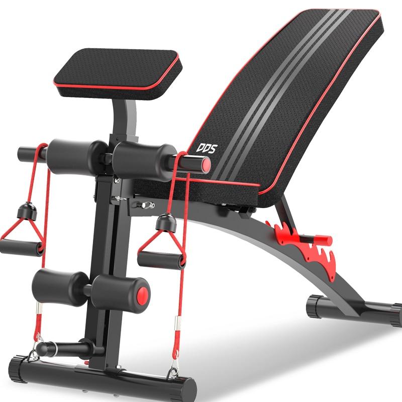 Estación de entrenamiento todo en uno con ajuste de 7 grados, silla de mancuerna de equipo de gimnasio multifuncional, tabla de alimentación para el hogar