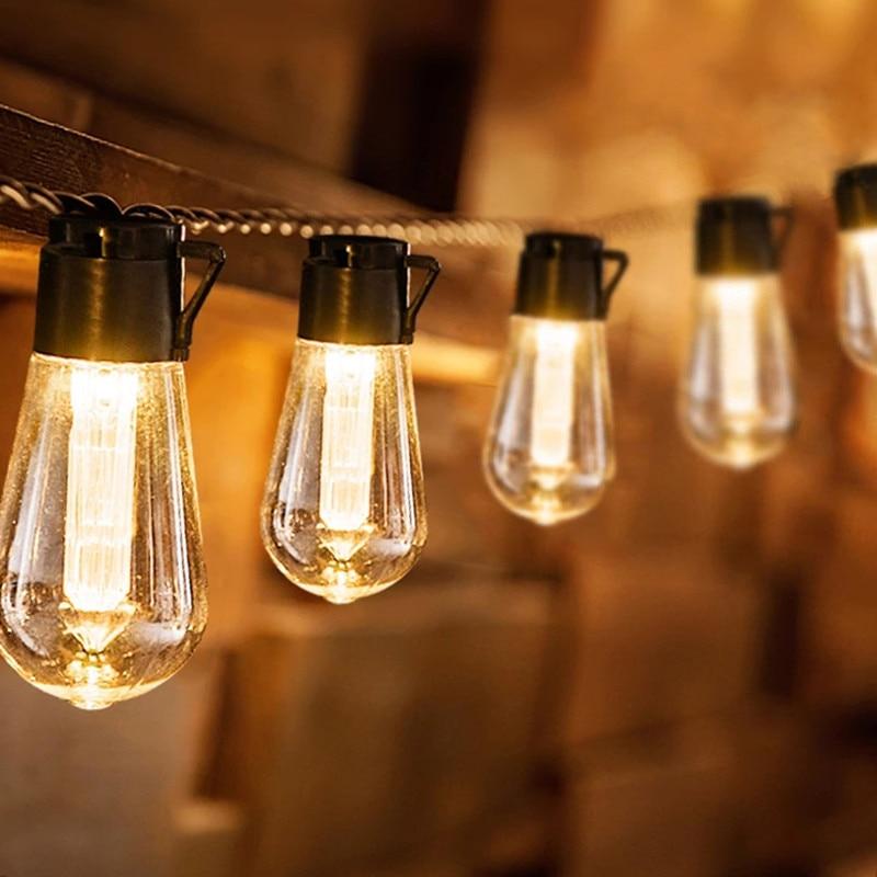 Solar Powered String Lights Outdoor Night Lighting Bulb Waterproof Patio Lamp Holiday Garland Light Garden Hanging Decor Light