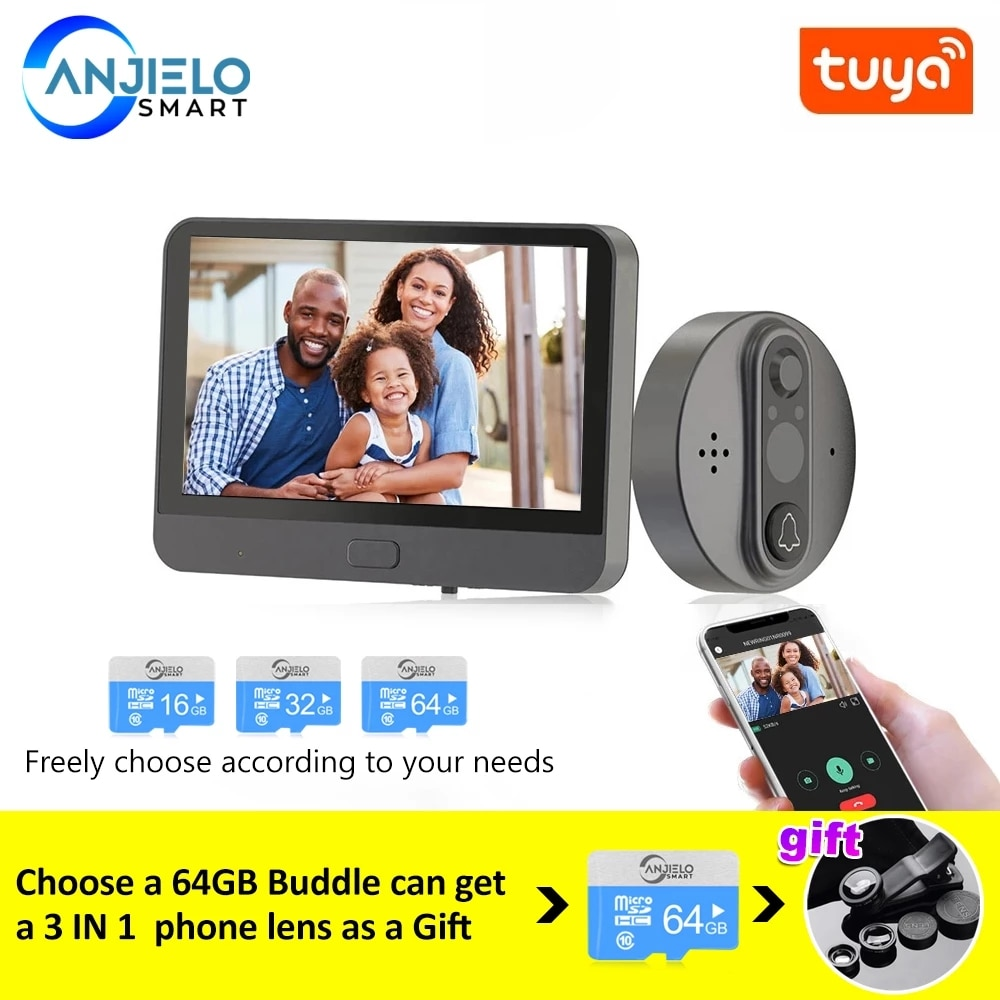 Smart WiFi Video Doorbell Peephole Doorbell Viewer Home PIR Motion Detection Security Monitor Detection Tuya APP Remote Control