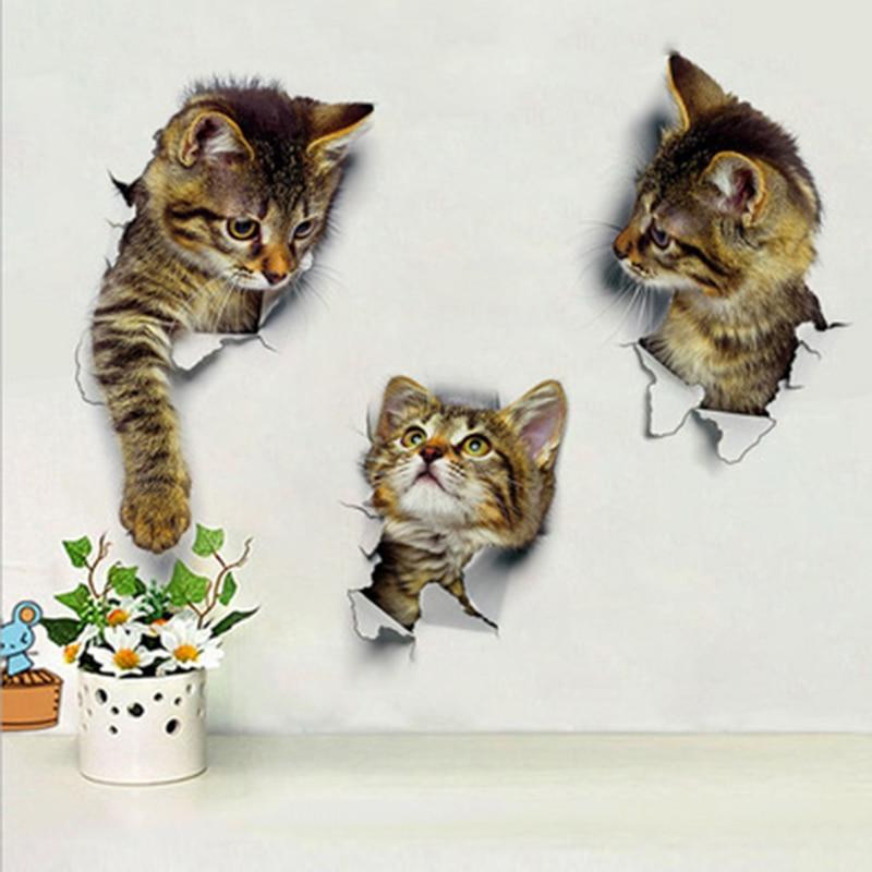 Creactive милый кот разбитая Наклейка на стену ванная комната стекло Туалет обои-покрытие пилинг и палка водонепроницаемый украшение дома худо...
