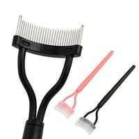 Металлическая Расческа для ресниц, расческа Складная для туши черного и розового цвета, инструмент косметический для макияжа, разделитель ...