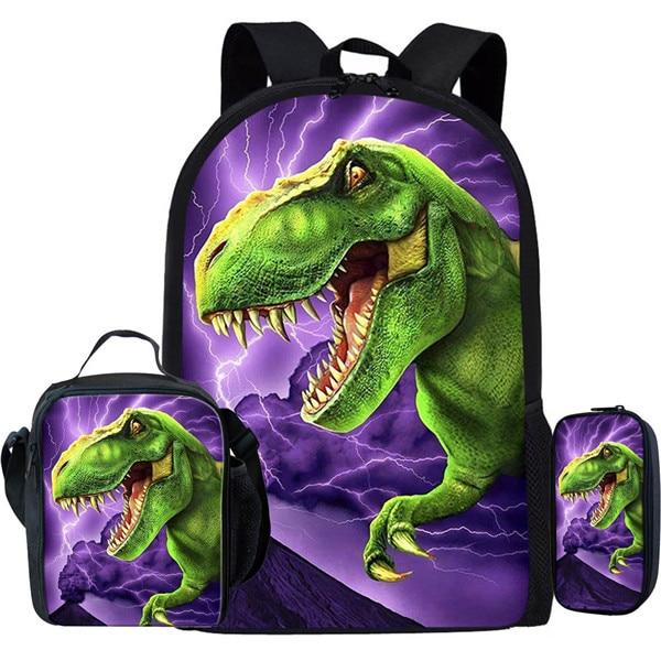 3Pcs/Set Tyrannosaurus Rex Dinosaur School Bags For Boys Primary Children Backpacks Kids Cool T Rex Dino Bookbags Animal Mochila