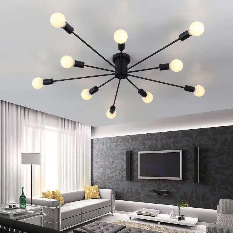 Lámpara de araña de metal Vintage, lámpara de araña Retro, lámpara de techo semiempotrada, lámpara de techo Sputnik, accesorio de iluminación para el hogar