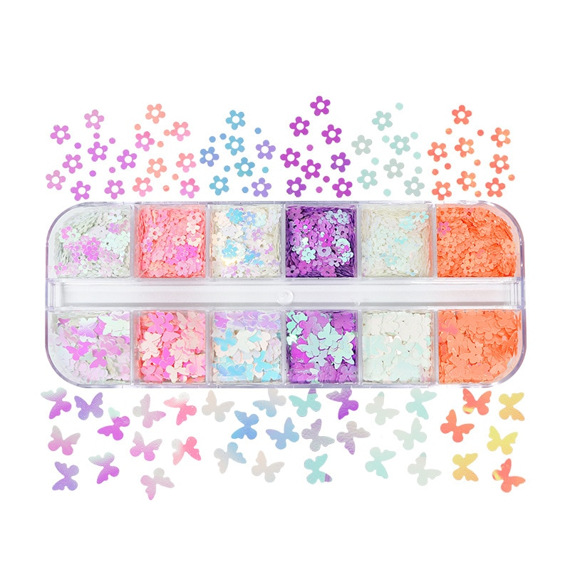12Grids Nail Glitter Mermaid Sequins Flower And Butterfly Beautiful Slices Confetti Glitter Slimes F