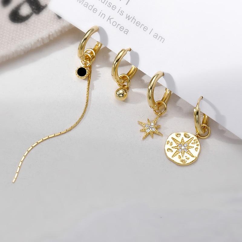 Boucles doreilles élégantes pour femmes, strass, étoile, couleur or, longues pampilles suspendues, perle ronde, Bijoux, 4 pièces/ensemble