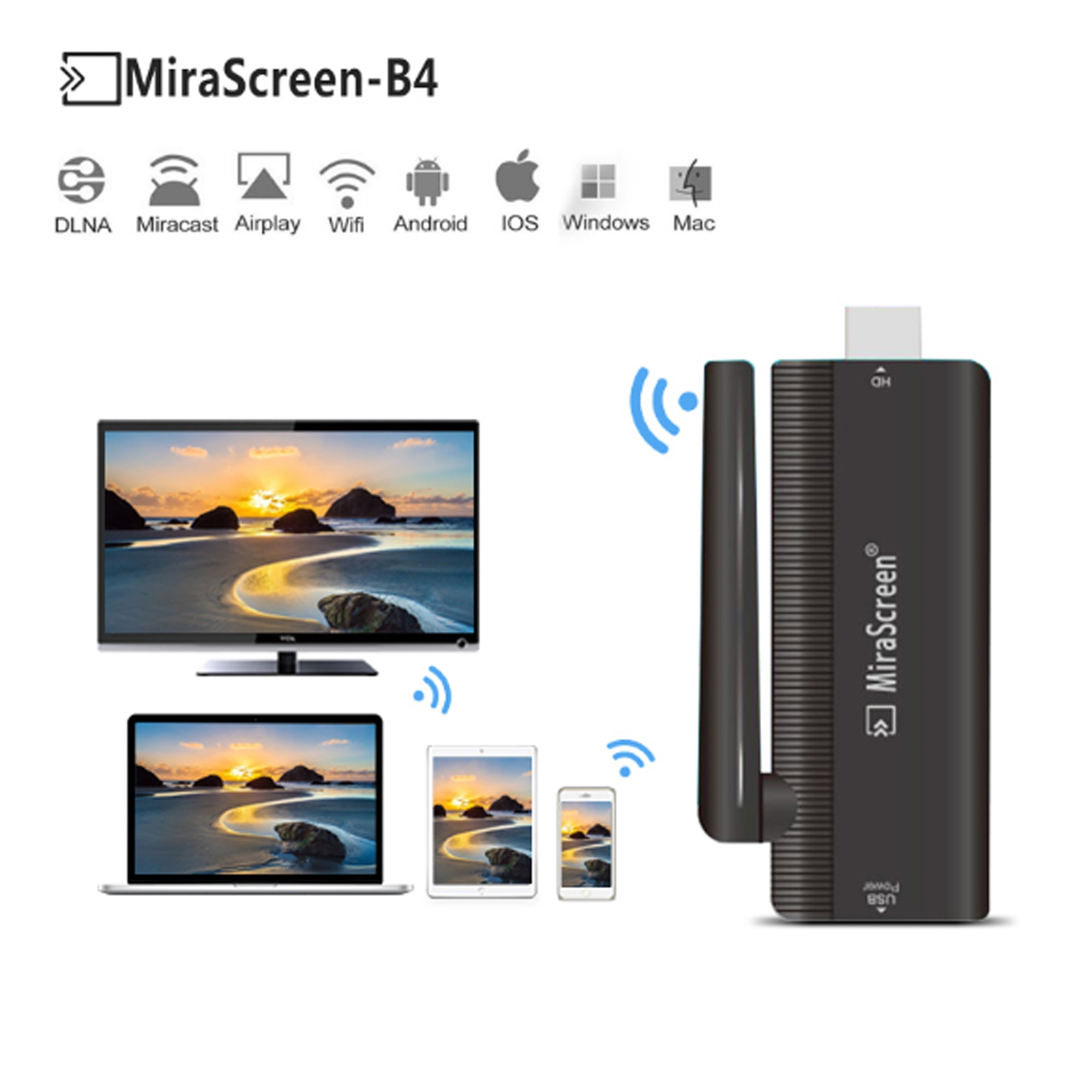 NEW MiraScreen Wireless HD 1080P WiFi Display Dongle TV Stick Miracast DLNA Receiver high quality