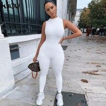 Kliou-mono elástico para mujer, ropa deportiva informal de fitness, sin mangas, con cremallera, traje ajustado de verano