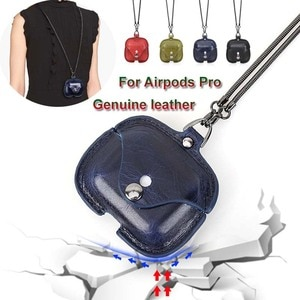 Genuine Leather Case for Airpods Pro Portable Protective Cover with Necklace Support Wireless/Wired Charging for Airpods Pro