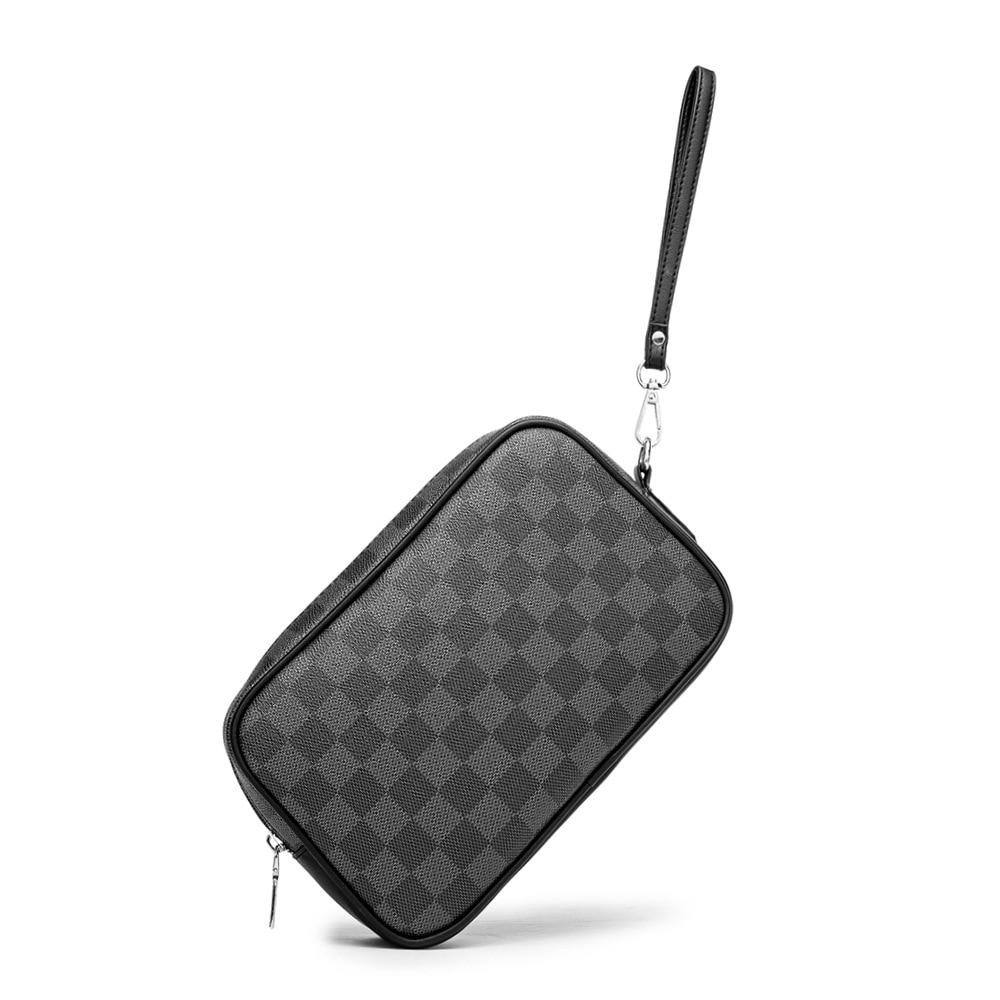 Nova xadrez couro wristlet bolsa de embreagem dos homens bolsa de telefone celular masculino alça de pulso envelope carteira sacos estilo negócios unisex