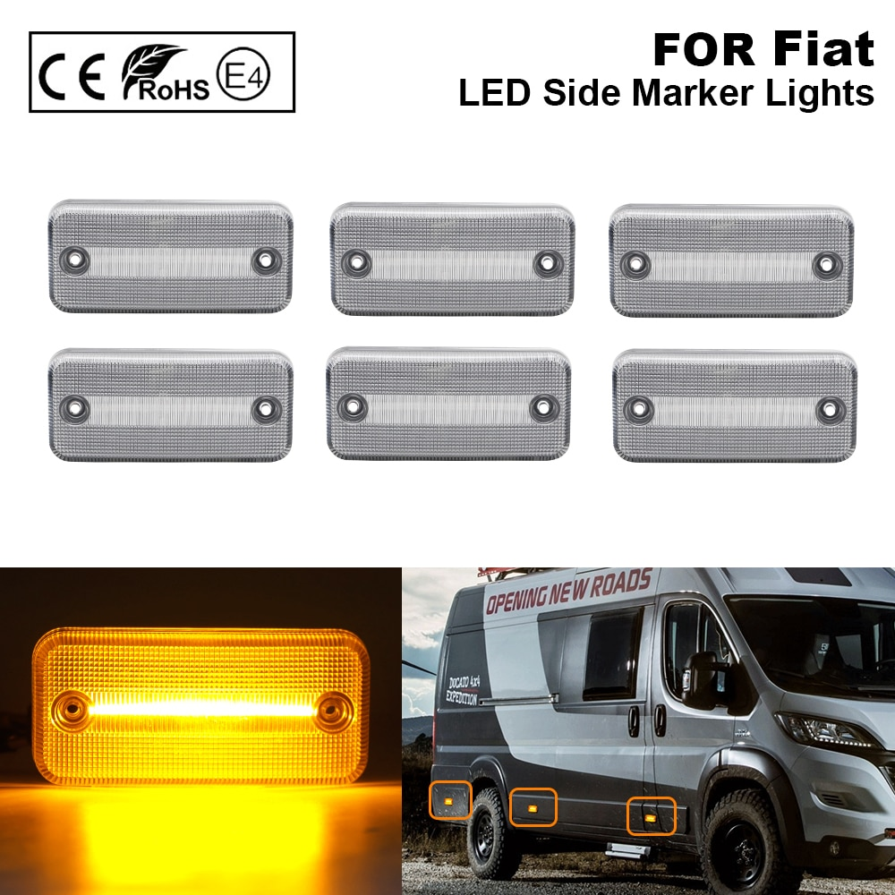 6PCS For Fiat Ducato Citroen Relay Peugeot Boxer Renault VOLVO MAN F Iveco DAF JEEP Cherokee II LED side marker lamp light Clear