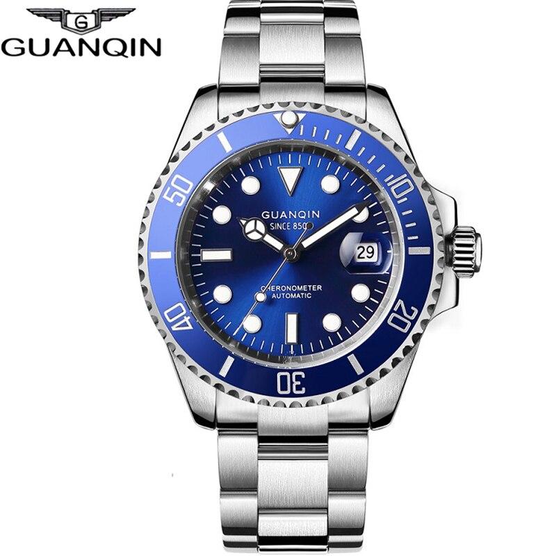 GUANQIN, reloj mecánico con movimiento japonés, reloj impermeable para hombres, reloj automático de lujo, cerámica para hombres, zafiro, Relogio Masculino