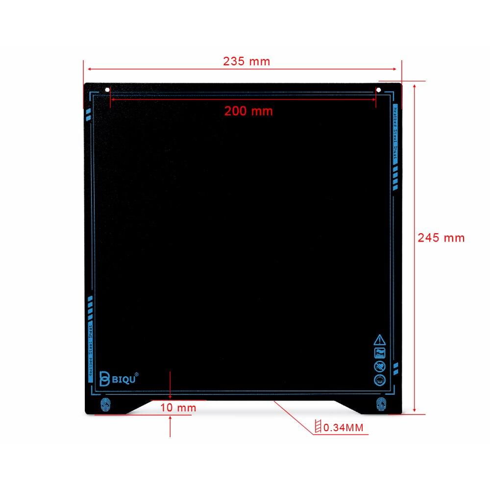 Chapa de Aço da Mola 235*235*0.3mm para Impressora e Anet Biqu Super Flexível Placa Heatbed Cama Construir Superfície 3d – Ender- 3 Sss b1