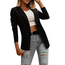 Fashion Women Autumn Solid Color Lapel Slim Cardigan Blazer Jacket Office Suit Coat Outwear Slim Coa