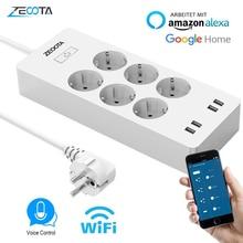 WiFi Smart Power Streifen EU Surge Protector mit 6 Weg AC Buchse 4 USB Port Home Control Switch Kompatibel Alexa google Assistent