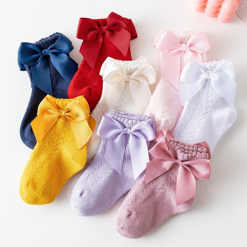 Calzini per neonati in cotone morbido traspirante fiocco estivo calzino per bambini tinta unita principessa calzini per bambina neonato antiscivolo Sox 0-5Y