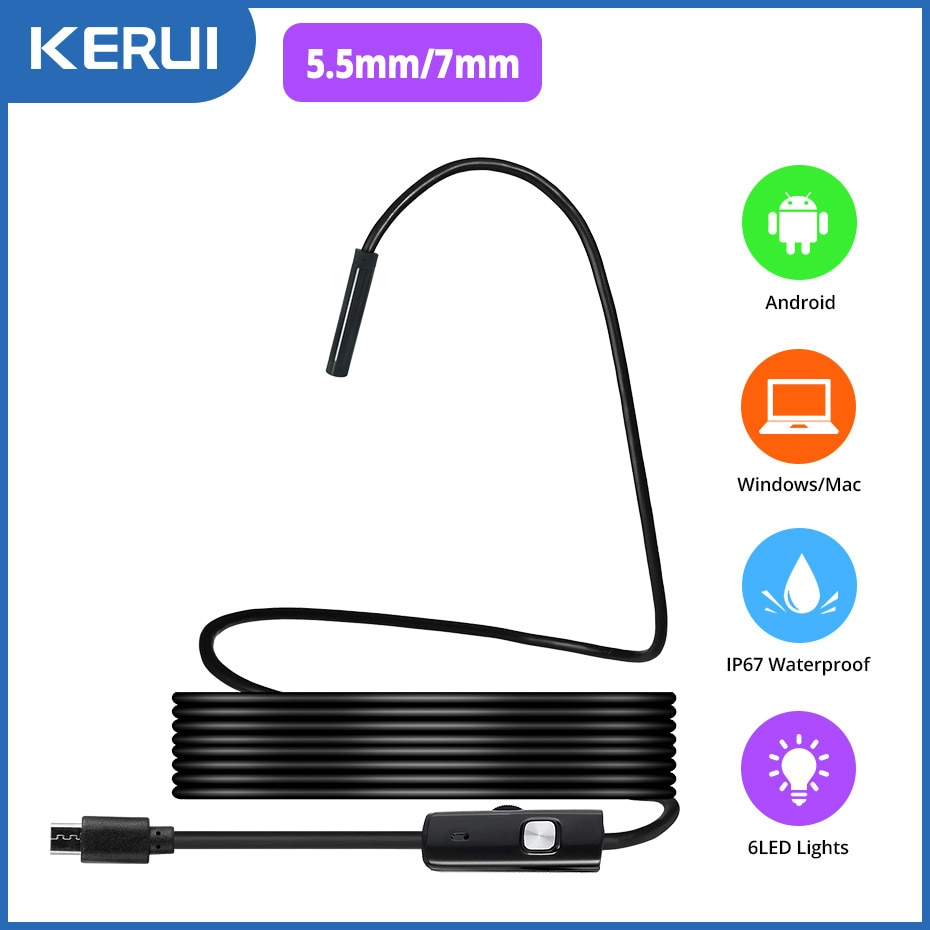 KERUI Mini Endoscope Camera 7mm/5.5mm Micro USB Connector Camera for Android PC Soft Inspection Camera Borescope IP67 Waterproof