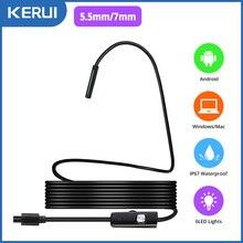KERUI-minicámara endoscópica, 7mm/5,5mm, cámara con conector Micro USB para Android, PC, cámara de inspección suave, boroscopio, IP67, resistente al agua