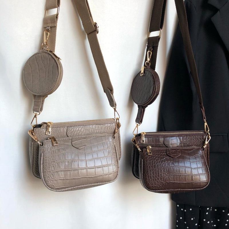 Vintage التمساح المرأة حقيبة كتف فاخر مصمم واسعة حزام حقيبة كروسبودي سلسلة حقيبة رافعة بولي leather جلد السيدات 3 مجموعة الحقائب المحفظة