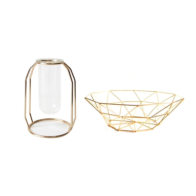 Vaso de vidro cuvette moderno banhado a ouro ferro flor vaso (curto) & chique mesa metal cesta armazenamento minimalista escandinavo