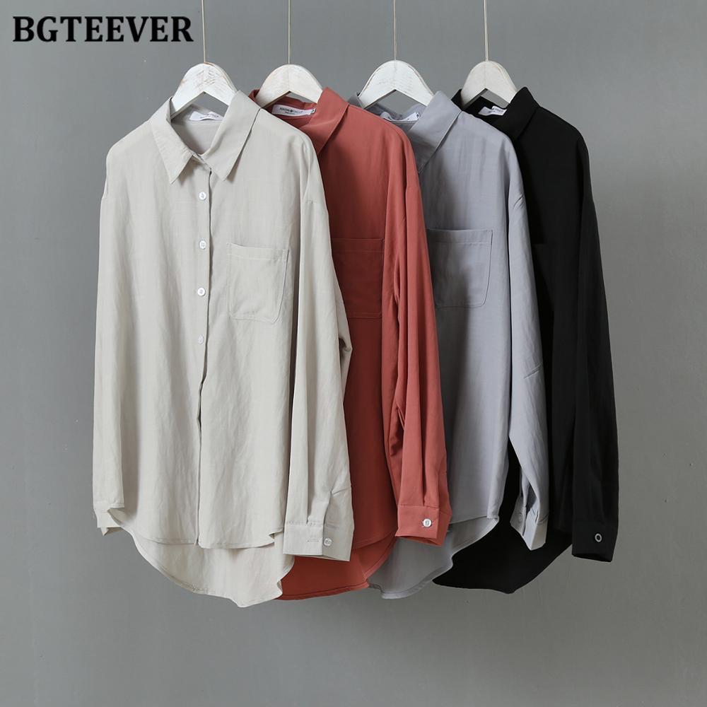 BGTEEVER Повседневная Женская блузка с длинным рукавом, рубашки весна-лето, отложной воротник, свободные однобортные Женские Рубашки, Топы 2020