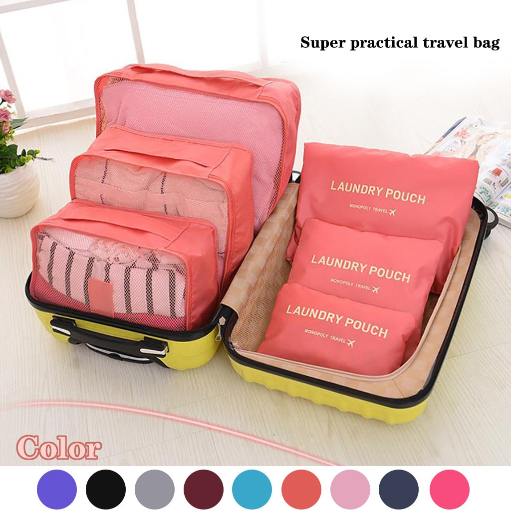 6 unids/set neceser de viaje ropa de almacenamiento portátil ropa y trajes de la ropa interior organizador de embalaje impermeable de almacenamiento