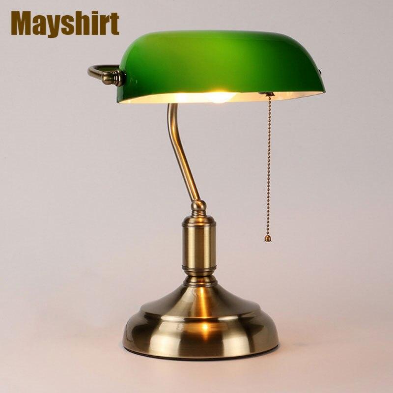 خمر الحديد الأخضر زجاج مصابيح طاولة لغرفة النوم السرير المطبخ غرفة المعيشة ديكور فني إضاءة داخلية الحديثة تركيبات بإضاءة LED
