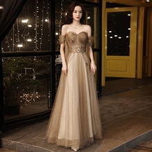 Evening Dress Backless Appliques Boat Neck Lace Up Floor-Length New Short Sleeves Tulle Luxurious Wo