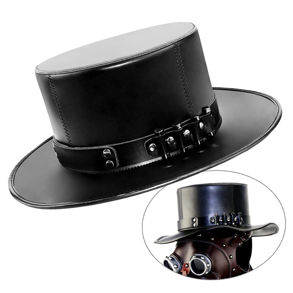 Sombrero Punk de magia de Doctor europeo y americano, accesorios de caballero, gótico Steampunk, cuero de imitación, sombrero, gorra, mascarada, accesorios de disfraz