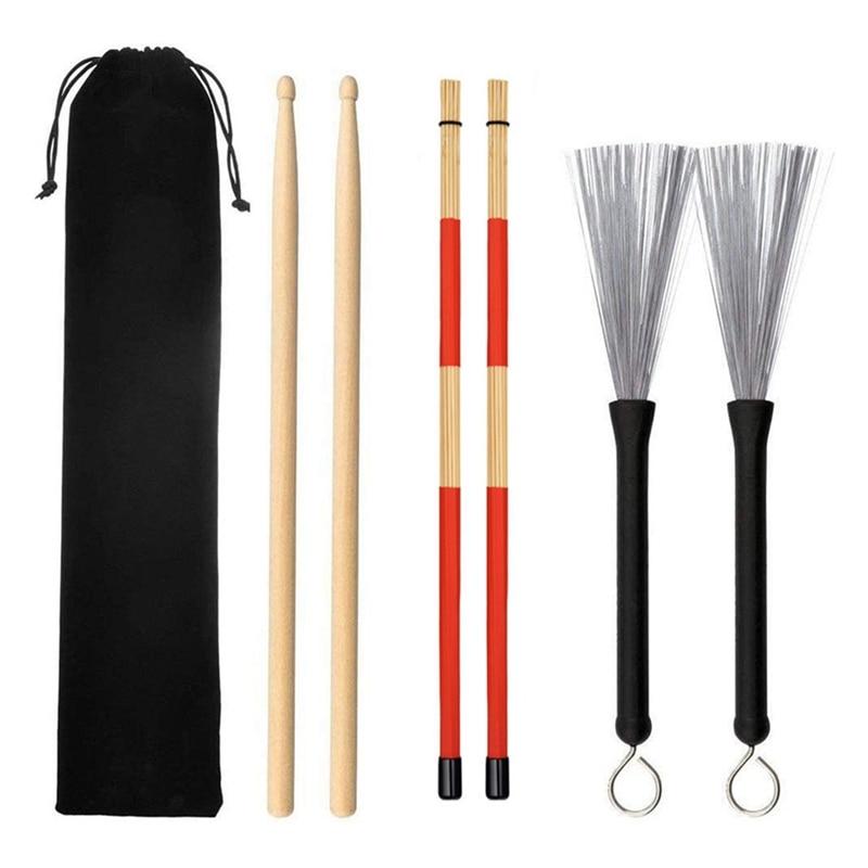 Drum Sticks 1 Pair 5A Maple Wood Drum Sticks 1 Pair Retractable Drum Wire Brushes and 1 Pair Rods Drum Brushes Set