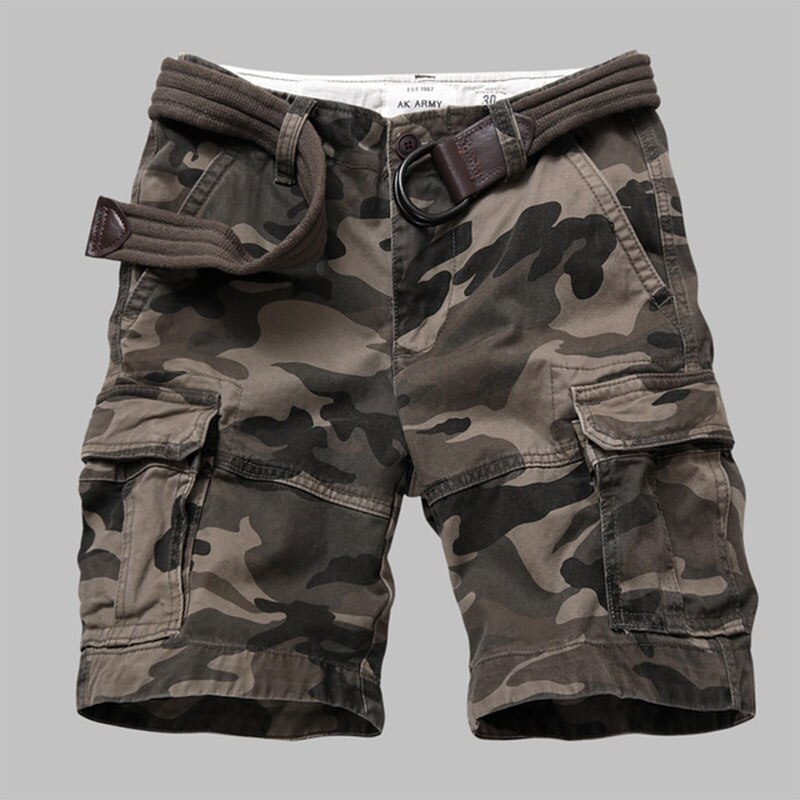 Men Outdoor Military Camouflage Tactical Shorts Wear Resistant Breathable Multi-Pocket Jumpsuit Climbing Hiking Sports Shorts