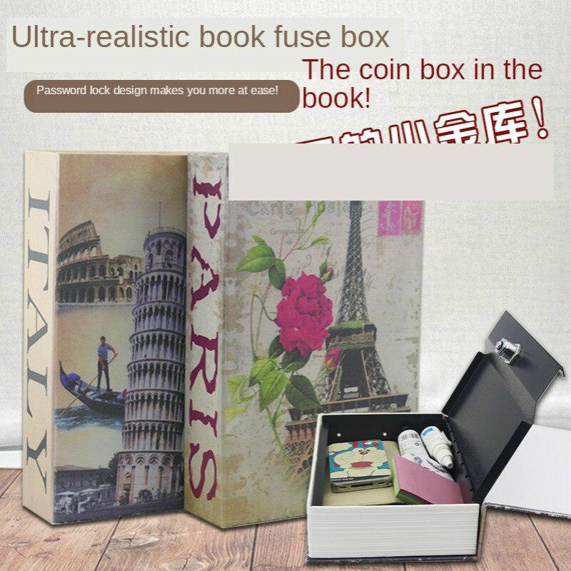 Simulation Book Safe Deposit Box Children Saving Pot Password Box with Lock Savings Bank Creative Birthday Gift ID Storage Box