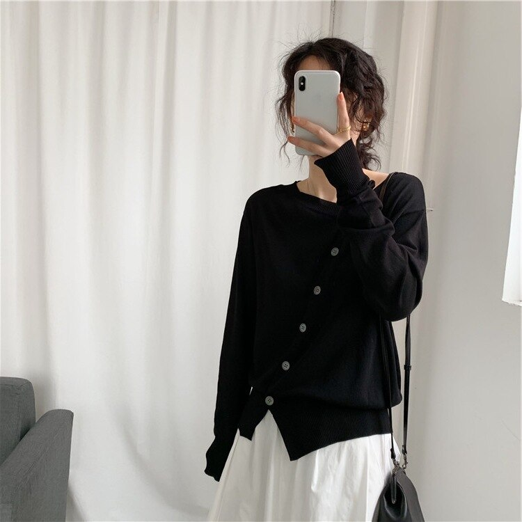 Spring Versatile Loose Thin Knitted Coat for Women enlarge