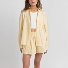 Casual Womem Yellow Lounge Wear Summer Tracksuit Shorts Set Long Sleeve Shirt Tops And Mini Shorts S
