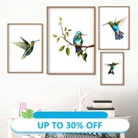Toile de peinture danimal  affiches retro  branche de colibri  feuilles  tableau dart mural pour decoration de salon  decoration de maison