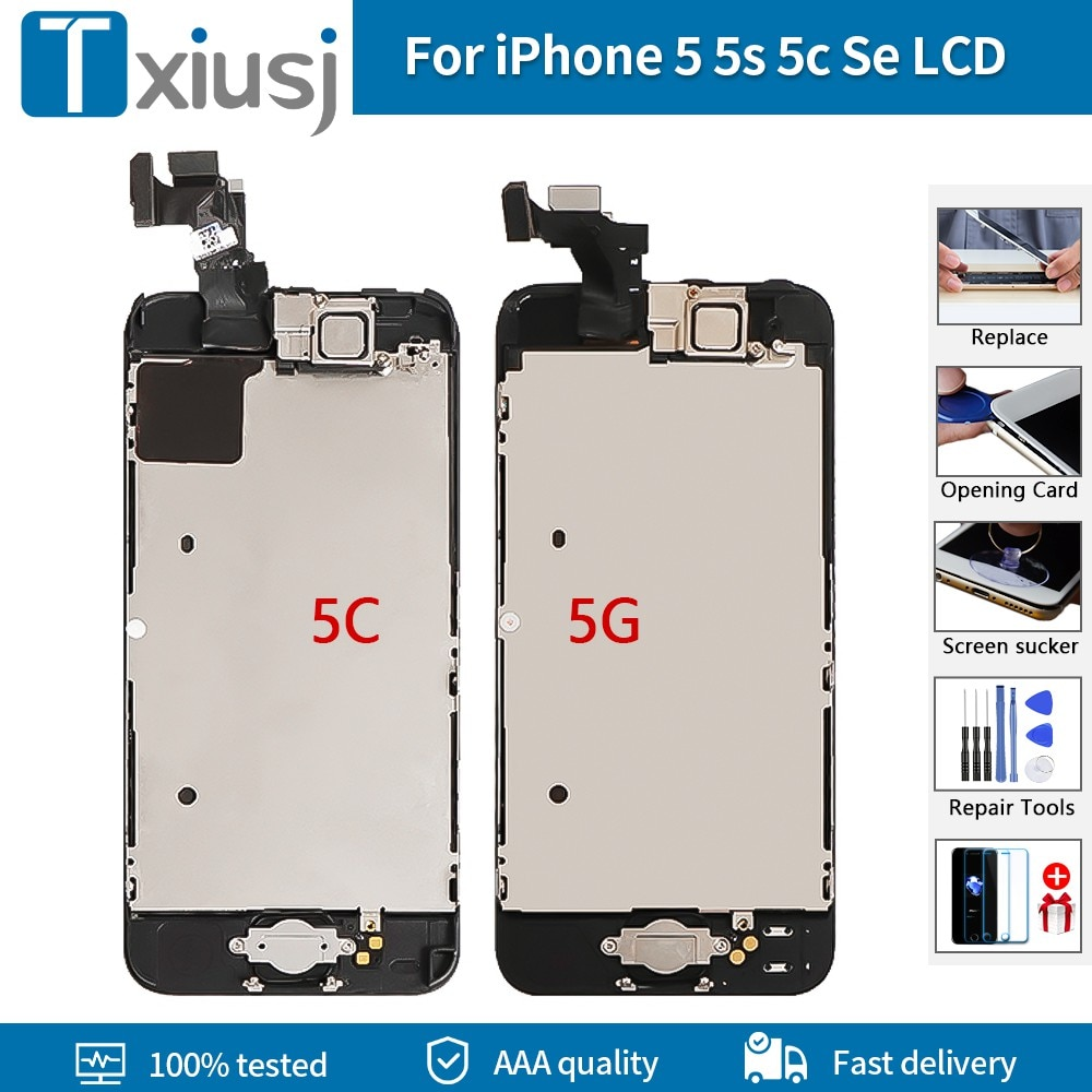 Aaa + + + + display lcd para iphone 5g 5S 5c 5se tela de toque lcd digitador assembléia substituição teste nenhum pixel morto