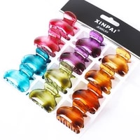 12pcs tortoiseshell plastic small hair claw clips women girls colorful acrylic crab hair clamps barrettes hair accessories set