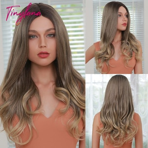 TINY LANA Synthetic Long Body Wave Wig Ombre Light Brown Lace Part Daily High Density Wigs for Black Women Heat Resistant Afro